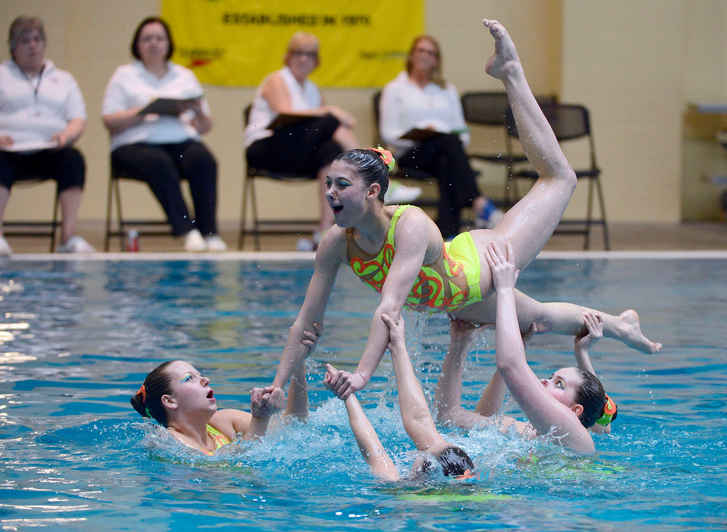 . THORNTON, CO. - MARCH 10: Team Rocky Mountain Splash perform during the team free at The Rocky Mountain Synchronized Swimming North Zones Championships  March 10, 2013 at Veterans Memorial Aquatic Center. (Photo By John Leyba/The Denver Post)