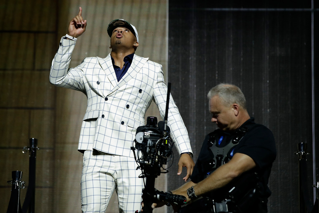 . LSU\'s Jamal Adams reacts after being selected by the New York Jets during the first round of the 2017 NFL football draft, Thursday, April 27, 2017, in Philadelphia. (AP Photo/Matt Rourke)