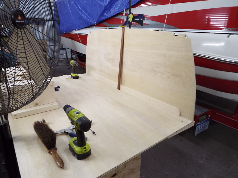 Another view of the seat bottom and transom being fit.