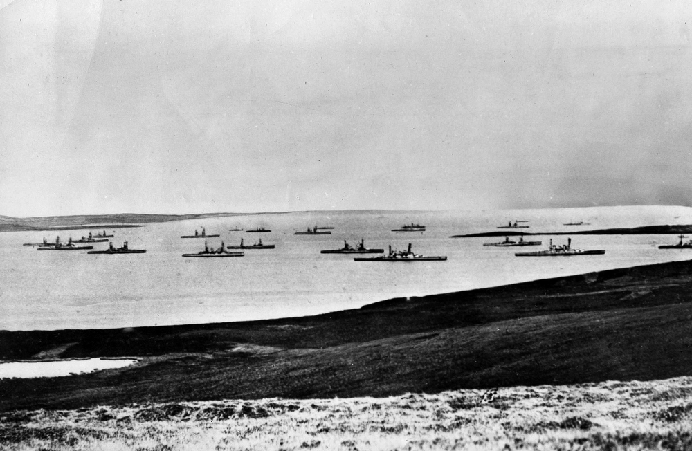 Description of . Ships of the German Fleet, interned by Britain, are shown in Scapa Flow, a bay in the Orkney Islands of Scotland, at the end of World War I  in late 1918. Under terms of the armistice, the Germans scuttled their fleet. (AP Photo)