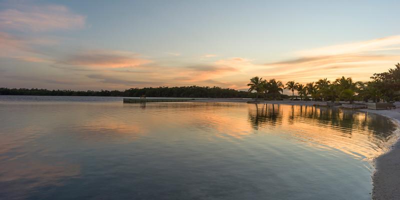 Sunset over the beach, Turneffe Island, Belize