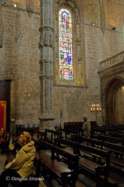 Thur 3/17 in Lisbon: Stained glass window from inside the Church of the Mariners