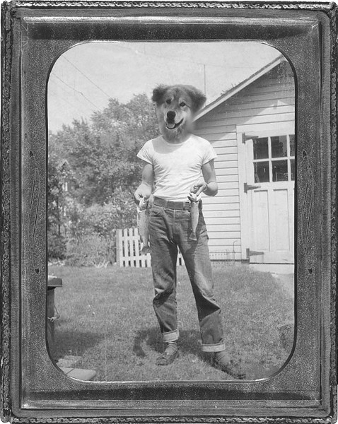 Kodi, our 110 lb. retriever/husky mix, and Ron's Uncle Milt in the 1950's.