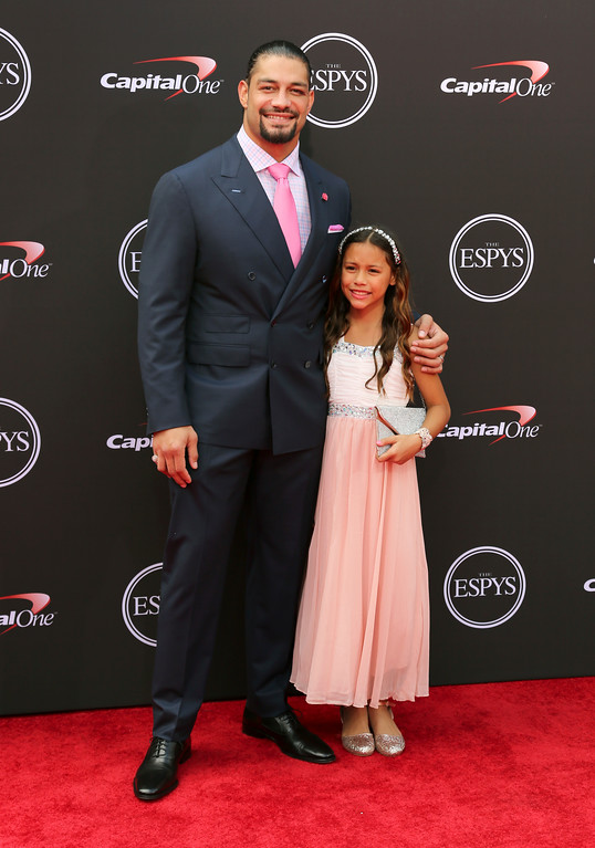 . Wrestler Roman Reigns, left, and Joelle Reigns arrive at the ESPY Awards at Microsoft Theater on Wednesday, July 18, 2018, in Los Angeles. (Photo by Willy Sanjuan/Invision/AP)