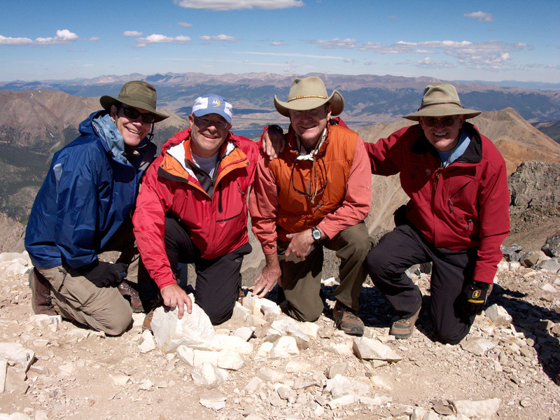 la Plata Peak climb, john flanner, ford montgomery, john banks, walt stinson at the summit
