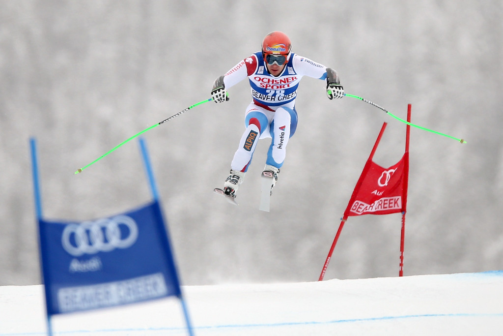 . Patrick Kueng #28 of Switzerland competes in the men\'s Super-G race at the Birds of Prey Audi FIS Ski World Cup on December 6, 2013 in Beaver Creek, Colorado.  (Photo by Matthew Stockman/Getty Images)