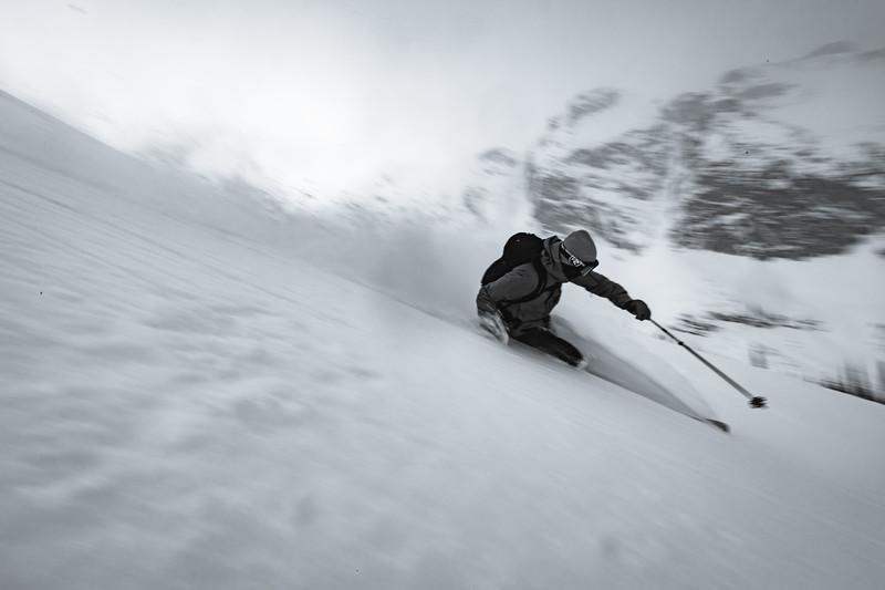 Matt Sterbenz skiing  Rodgers Pass. Checkerspot Road Trip.