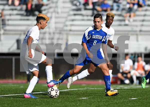 09/08/17 Wesley Bunnell | Staff Plainville Boys Soccer defeated visiting Bristol Eastern on Friday afternoon. Plainvilles Mike Torres (6) with the ball and Bristol Easterns Dante Constantiello #8.