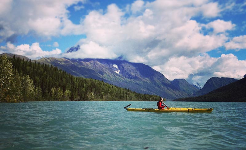 Kayaking Lake Eklutna in Alaska