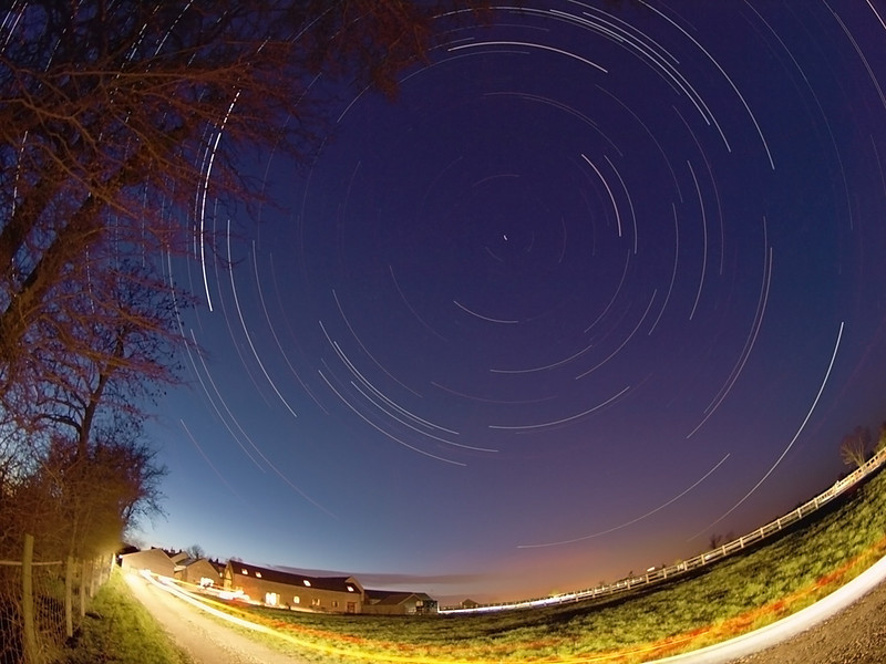 Star Trail from 27 March 2009 in my back yard. Not a brilliant effort.