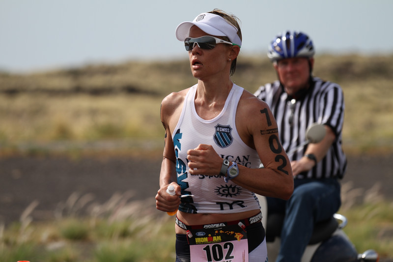 Mirinda Carfrae on the run at Mile 24.  She went on to finish 1st in Female Pro division