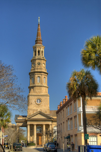 The towering St. Phillip's Episcopal Church on Church Street in Charleston, SC on Saturday, March 9, 2013. Copyright 2013 Jason Barnette