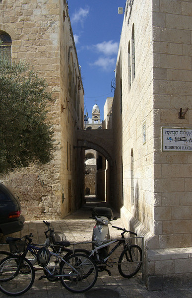 9-Leaving the Basillica, we entered the Old City through Zion Gate and made our way toward the four Sepharadic Synagogues via Mishmerot Hakehuna street. This is the  view to the west from Mishmerot Hakehuna.