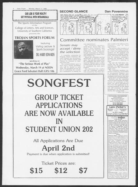 Daily Trojan, Vol. 100, No. 45, March 17, 1986