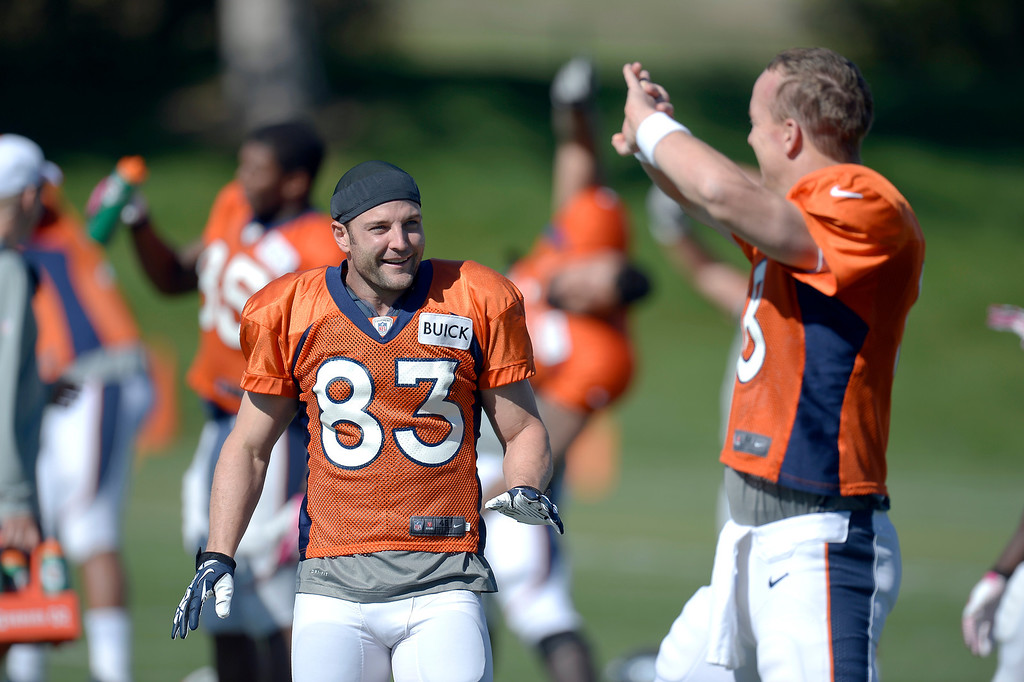 . Denver Broncos wide receiver Wes Welker (83) smiles as he talks with Denver Broncos quarterback Peyton Manning (18) before practice October 09, 2013 at Dove Valley. (Photo by John Leyba/The Denver Post)