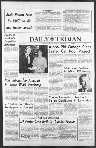 Daily Trojan, Vol. 58, No. 85, March 08, 1967