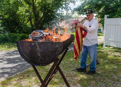 American Legion Post 15 Flag Burning 2015
