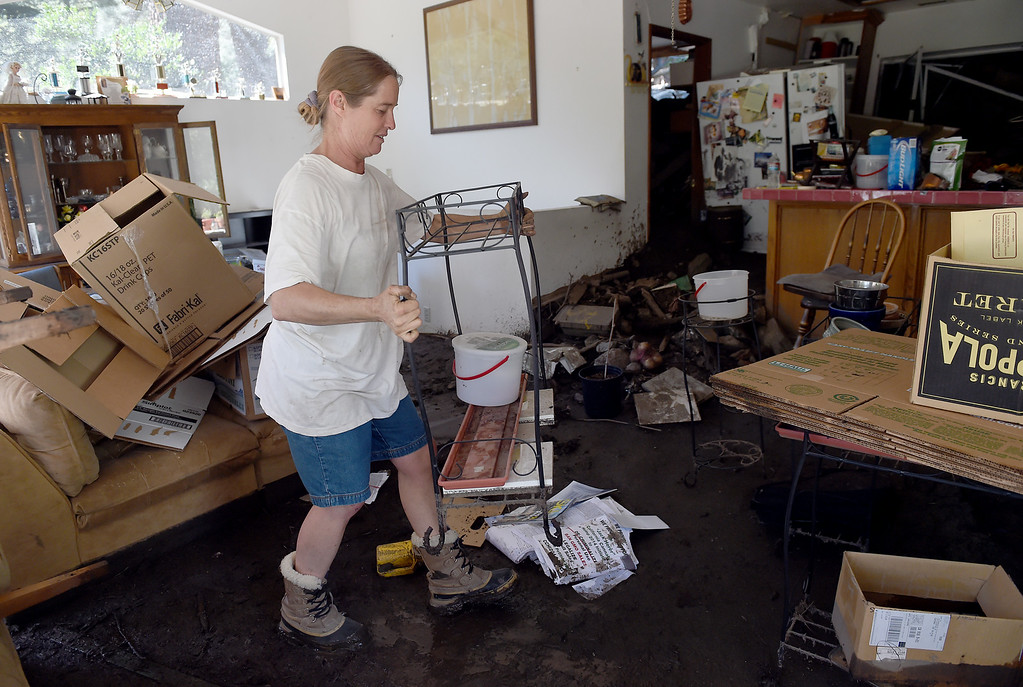 . Clean-up from Sunday\'s storm continues in Mt. Baldy, CA, Tuesday, August 5, 2014. (Photo by Jennifer Cappuccio Maher/Inland Valley Daily Bulletin)