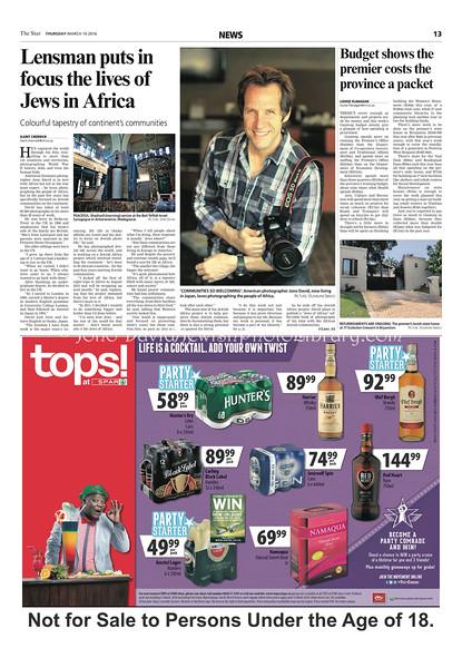 Star, The. Thursday, March 10, 2016, Johannesburg, South Africa