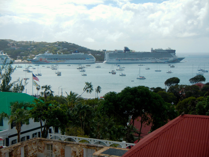 View from Government Hill of the Havensight port with our ship on the right (which we think is quite ugly), the Norwegian Epic. Charlotte Amalie, St. Thomas