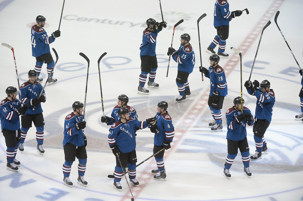 . The Avalanche celebrated the win at center ice Thursday night. The Colorado Avalanche defeated the New York Rangers 3-2 Thursday night, April 3, 2014 in a shootout at the Pepsi Center in Denver. (Photo by Karl Gehring/The Denver Post)