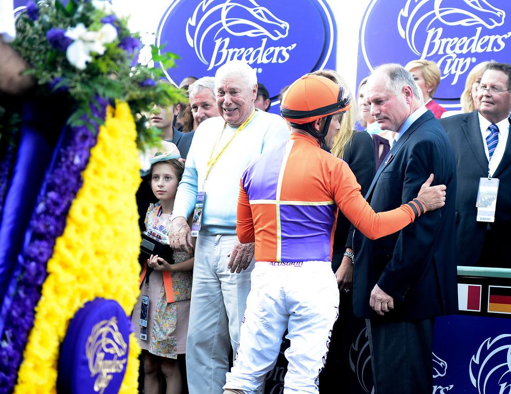 . Riding Beholder Gary Stevens wins the $2 million Breeders\' Cup Distaff race at the Breeders\' Cup at Santa Anita Park in Arcadia Friday, November 1, 2013. (Photo by Sarah Reingewirtz/Pasadena Star-News)