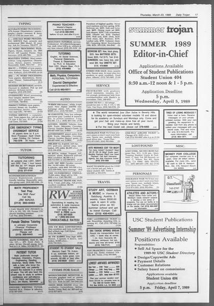 Daily Trojan, Vol. 108, No. 48, March 23, 1989