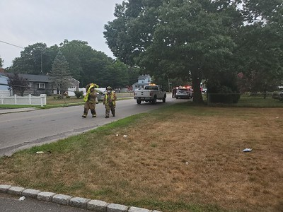 2020.07.30 Mastic Vehicle Vs Pole & shed. Lawrence Rd & Broadway