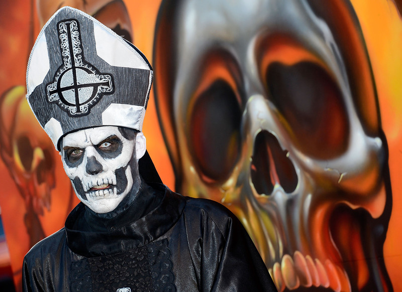. Papa Emeritus (Ghost B.C.) arrives at the 5th Annual Revolver Golden Gods Award Show  at Club Nokia on May 2, 2013 in Los Angeles, California.  (Photo by Frazer Harrison/Getty Images)