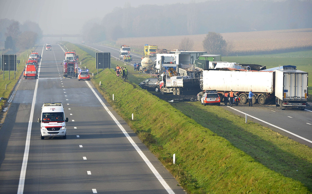 . A picture shows the site of a multiple collision accident at the A19 highway towards Kortrijk near Zonnebeke-Beselare on December 3, 2013.  AFP PHOTO/BELGA/ERIC LALMAND /AFP/Getty Images