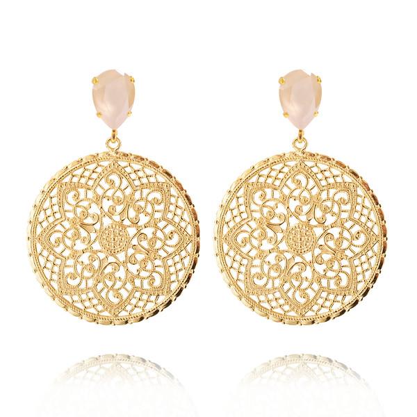 Alexandra Earrings / Ivory Cream Gold