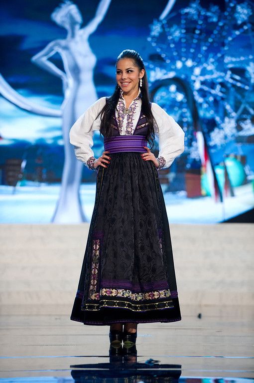 . Miss Norway 2012, Sara Nicole Anderson, performs onstage at the 2012 Miss Universe National Costume Show on Friday, Dec. 14, 2012 at PH Live in Las Vegas, Nevada. The 89 Miss Universe Contestants will compete for the Diamond Nexus Crown on Dec. 19, 2012. (AP Photo/Miss Universe Organization L.P., LLLP)