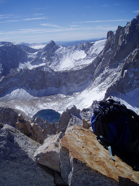 Mt. McAdie, Trail Crest, Pinnacle Ridge and Iceberg in the view from the Mt. Russell summit