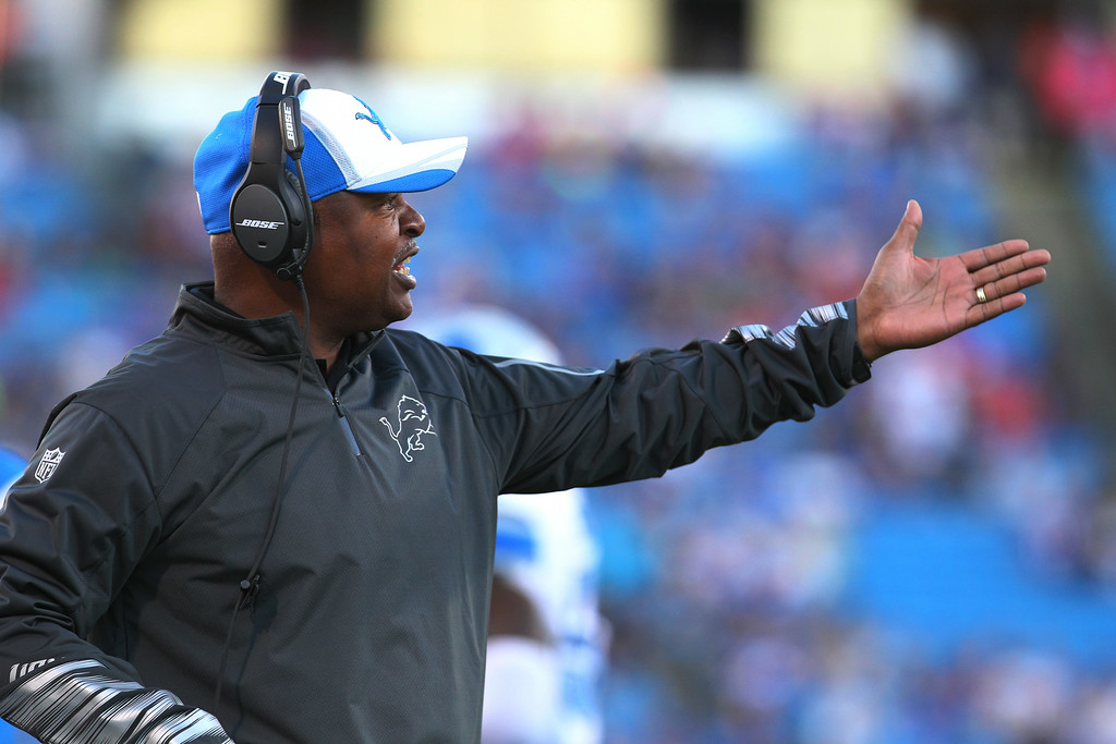 . Detroit Lions head coach Jim Caldwell gestures during the first half of a preseason NFL football game against the Buffalo Bills, Thursday, Aug. 28, 2014, in Orchard Park, N.Y. (AP Photo/Bill Wippert)