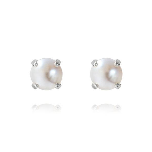 Classic Stud Earrings / Pearl Rhodium