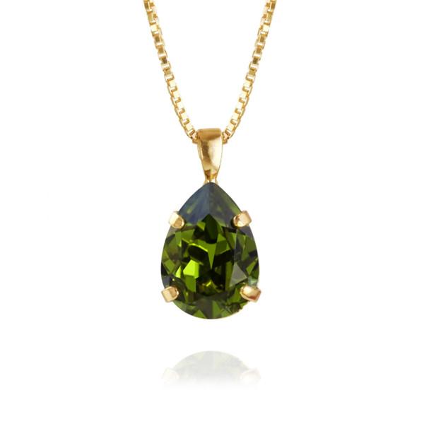 Mini Drop Necklace / Olivine Gold