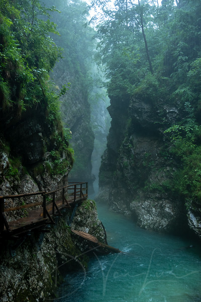 Vintgar Gorge in the pouring rain
