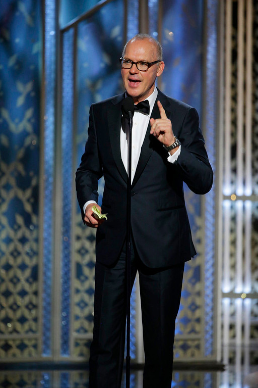 ". In this image released by NBC, Michael Keaton accepts the award for best actor in a motion picture comedy or musical for his role in ""Birdman\"" at the 72nd Annual Golden Globe Awards on Sunday, Jan. 11, 2015, at the Beverly Hilton Hotel in Beverly Hills, Calif. (AP Photo/NBC, Paul Drinkwater)"