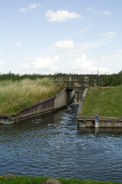 The canal carrying the water away to the sea.