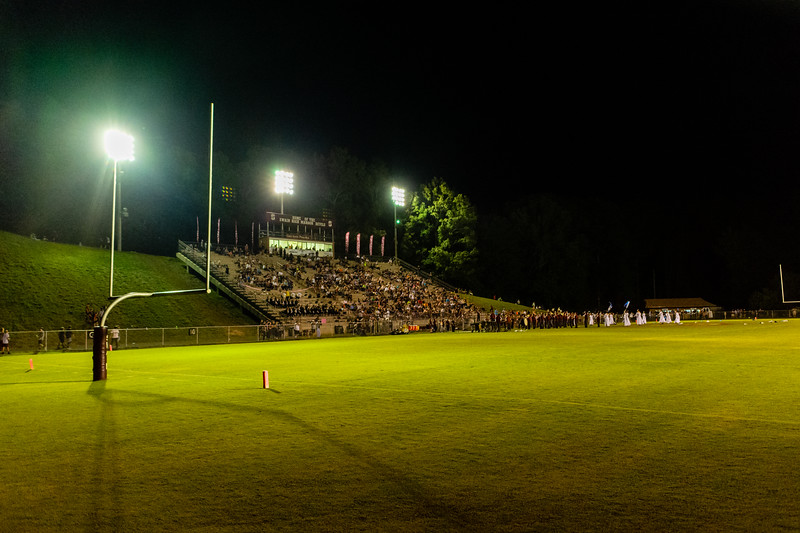 The Swain County Maroon Devils take on the Hayesville Yellowjackets at the Swain County Memorial Football Stadium in Bryson City, September 20, 2018. (Joseph Forzano / Deep Creek Films)