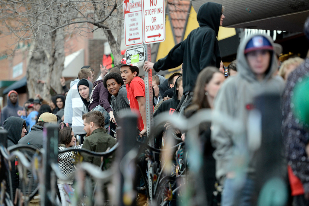 . Unruly fans crowd the entrance at the The Fox Theater on Monday, March 11, in Boulder. Boulder Police responded with riot gear to keep the fans of the band Tyler the Creator under control.  Jeremy Papasso/Boulder Daily Camera