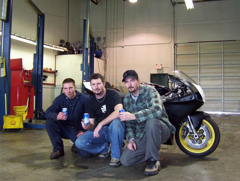 Team Photo Left to Right Brant - Head mechanic & shop space Jason - Secondary rider Brett - Primary rider