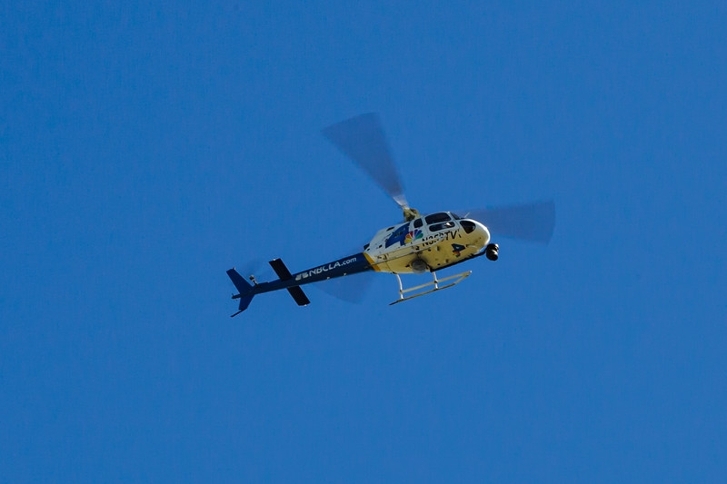 2021 02/23: Choppers Hover Over Tiger's Car Wreck