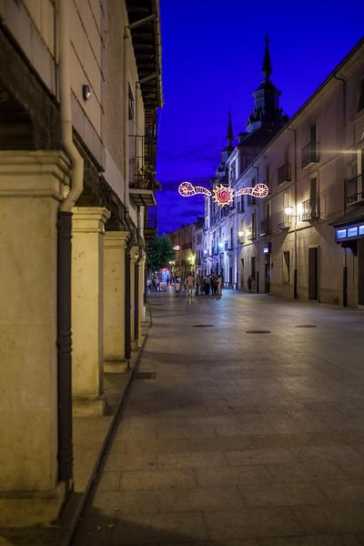 Calle Mayor (Main Street) at night, Burgo de Osma, Soria, Spain