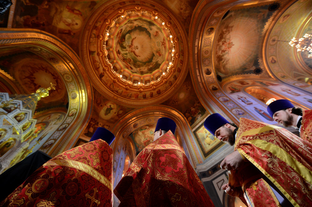 . Russian Orthodox priests celebrate Easter at the Christ the Savior Cathedral in Moscow early on May 5, 2013. KIRILL KUDRYAVTSEV/AFP/Getty Images