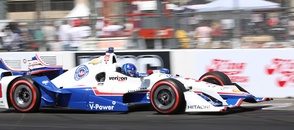 . Helio Castroneves at the 41st Toyota Grand Prix of Long Beach, Sunday April 19th, 2015.  Chuck Bennett/Staff Photographer.