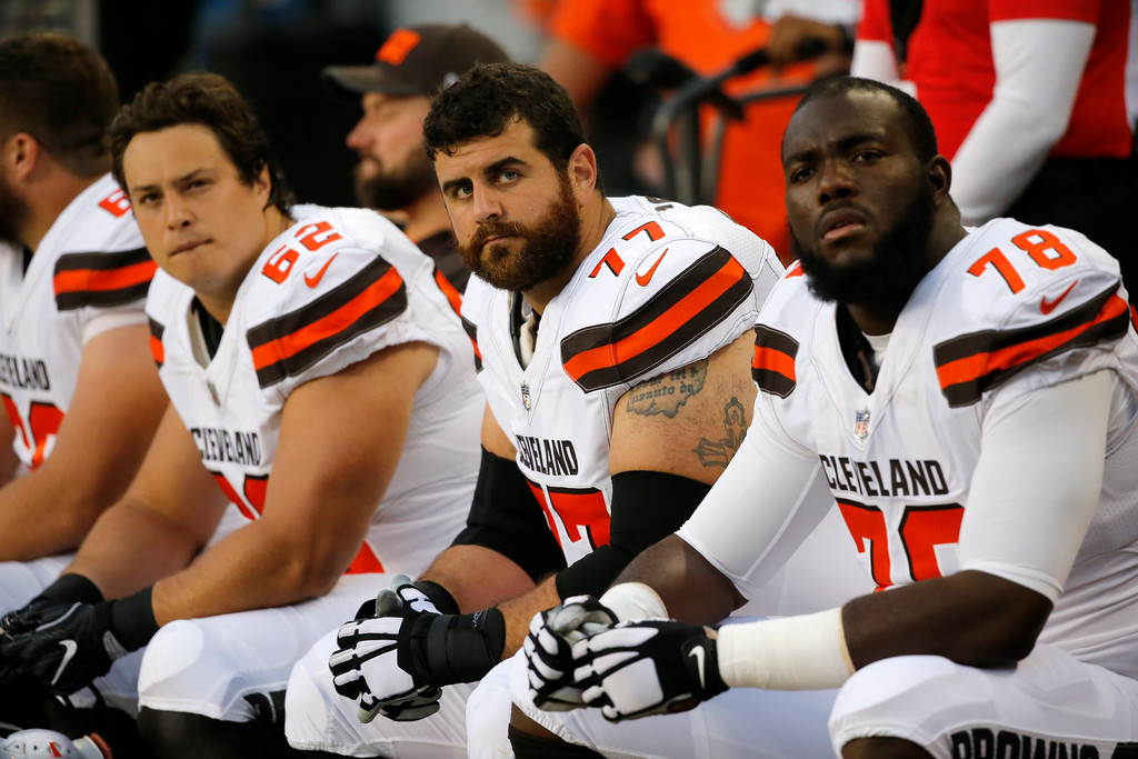 . Cleveland Browns center Austin Reiter (62), guard John Greco (77) and offensive tackle Roderick Johnson (78) during the first half of an NFL football game against the Chicago Bears, Thursday, Aug. 31, 2017, in Chicago. (AP Photo/Charles Rex Arbogast)
