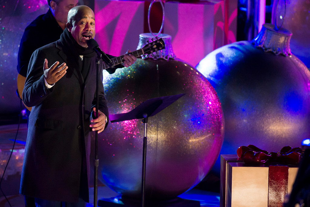 . Darius Rucker performs at the 82nd Annual Rockefeller Center Christmas Tree Lighting Ceremony on Wednesday, Dec. 3, 2014, in New York. (Photo by Charles Sykes/Invision/AP)