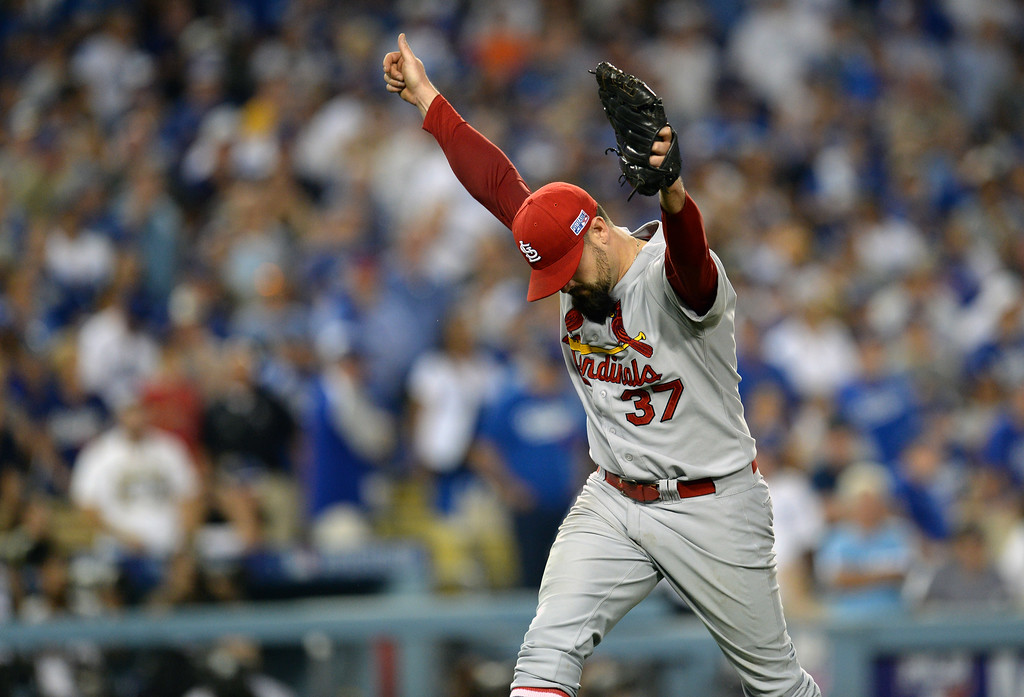 . Cardinals pitcher Pat Neshek #37 reacts after the final out in the 8th inning during Game 1 of  the National League Division Series, at Dodger Stadium Friday October 3, 2014.The Cardinals beat the Dodgers 10-9. (Photo by Hans Gutknecht/Los Angeles Daily News)
