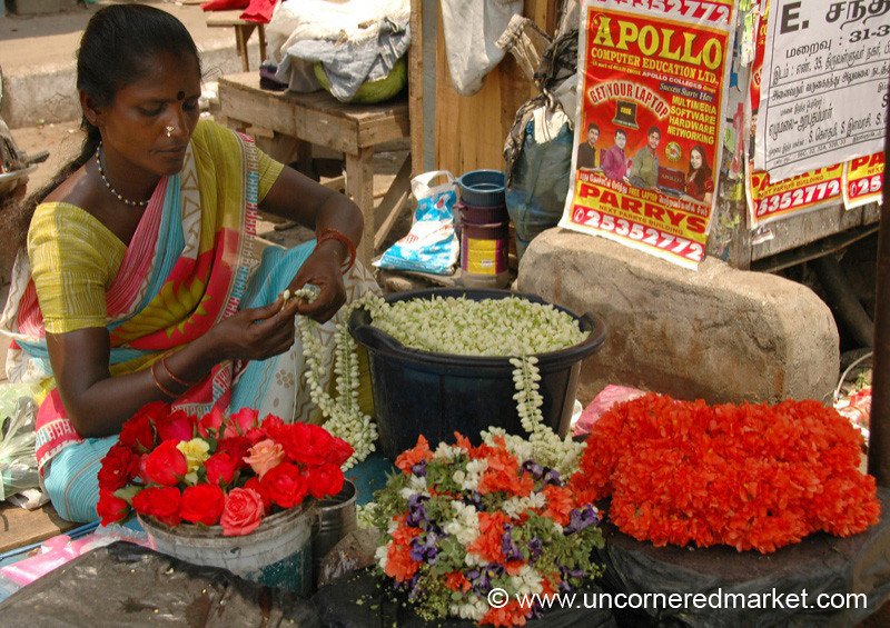 Concentrating on Her Flowers - Chennai, India